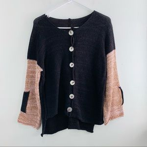 Skifo Brown Pink Knit Button Front Top